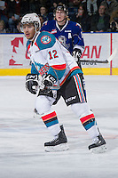 KELOWNA, CANADA - JANUARY 2: Tyrell Goulbourne #12 of the Kelowna Rockets skates on the ice against the  Victoria Royals at the Kelowna Rockets on January 2, 2013 at Prospera Place in Kelowna, British Columbia, Canada (Photo by Marissa Baecker/Shoot the Breeze) *** Local Caption ***