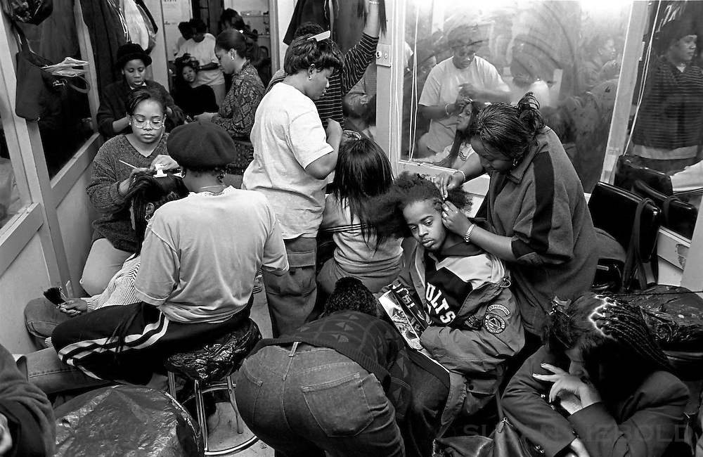 West African hair braiding salon, Harlem.