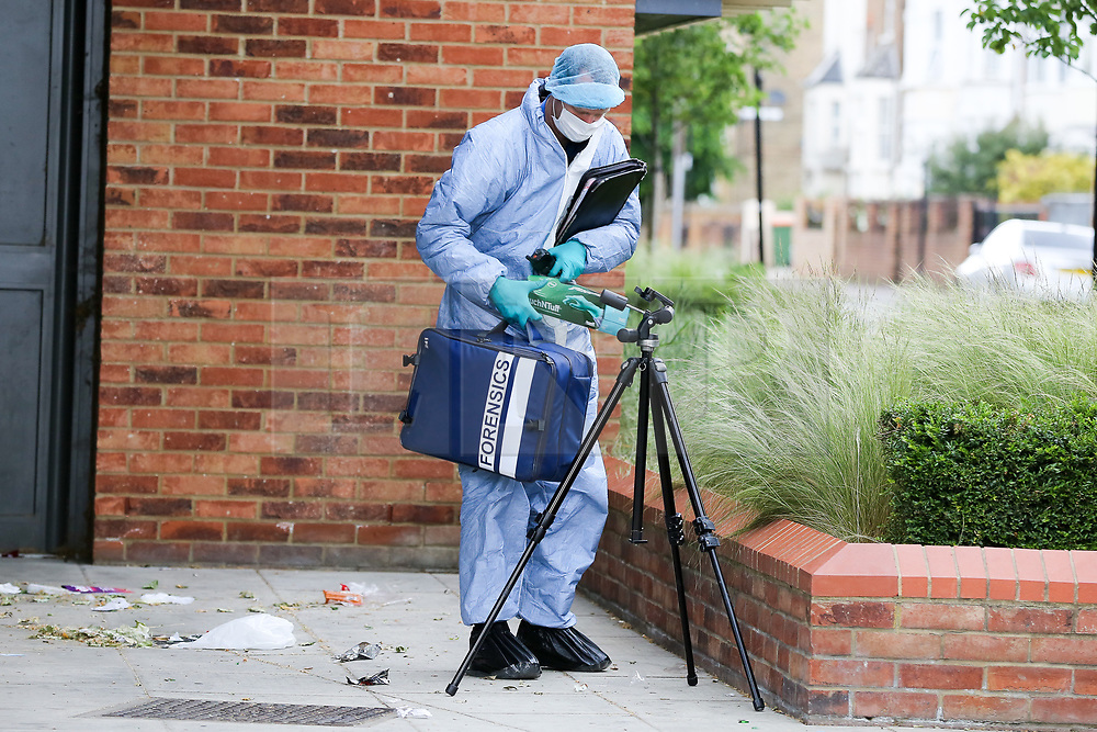 © Licensed to London News Pictures. 28/05/2019. London, UK. A forensic officer on Warwick Road, Forest Gate, East London where a man in his 30s died in the early hours of this morning.<br />