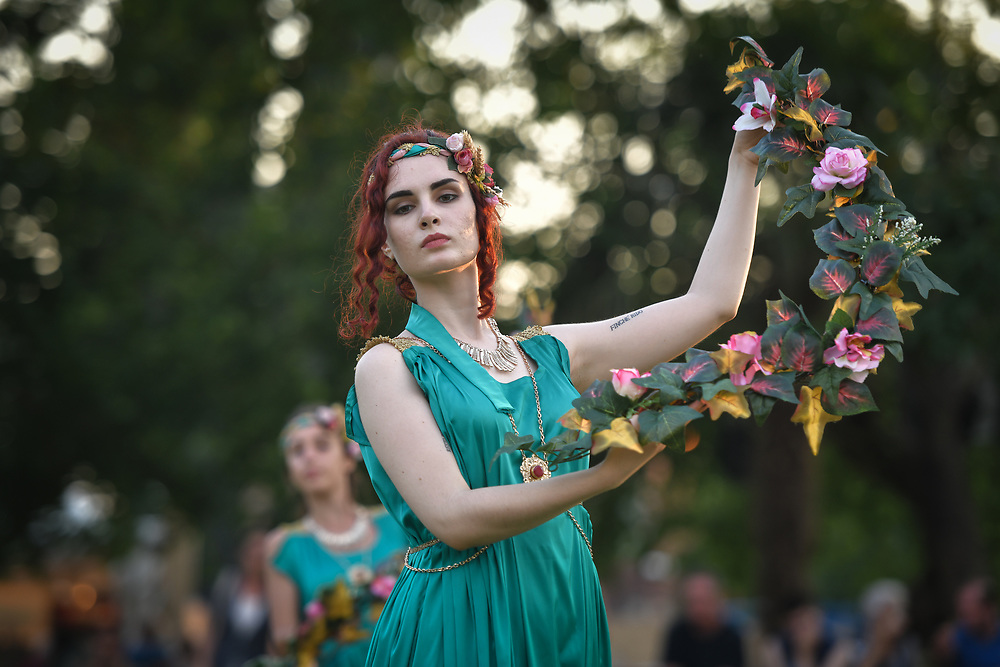 Aquileia, Italy - 17 June 2018: A dancer performs at Tempora in Aquileia, ancient Roman historical re-enactment
