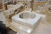 Baptistery, Eastern Church, Mamshit, Israel. Mamshit is the Nabatean city of Memphis. In the Nabatean period, Mamshit was important because it sat on the route from the Idumean Mountains to the Arava, continued on to Beersheva or to Hebron and Jerusalem. The city covers ten acres and is the smallest but best restored city in the Negev Desert. The once-luxurious houses have unusual architecture not found in any other Nabatean city.