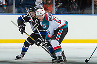 KELOWNA, CANADA - SEPTEMBER 2: Center Ted Brennan #10 of the Kelowna Rockets checks center Eric Florchuk #14 of the Victoria Royals after the face off during second period on September 2, 2017 at Prospera Place in Kelowna, British Columbia, Canada.  (Photo by Marissa Baecker/Shoot the Breeze)  *** Local Caption ***