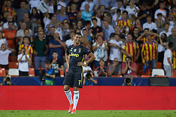 September 19, 2018 - Valencia, Valencia, Spain - Cristiano Ronaldo of Juventus  reacts after get a red card during the UEFA Champions League group h match between Valencia CF and Juventus at Mestalla on September 19, 2018 in Valencia, Spain  (Credit Image: © Sergio Lopez/NurPhoto/ZUMA Press)