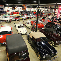 Cars sit on display at the Tupelo Automobile Museum.