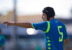 NAPLES, ITALY - Wednesday, October 3, 2018: Napoli's substitute Claudio Manzi, wearing a head protector during the UEFA Youth League Group C match between S.S.C. Napoli and Liverpool FC at Stadio Comunale di Frattamaggiore. (Pic by David Rawcliffe/Propaganda)