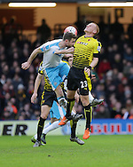 Paul Dummett and Ben Watson during the The FA Cup Third Round match between Watford and Newcastle United at Vicarage Road, Watford, England on 9 January 2016. Photo by Dave Peters.