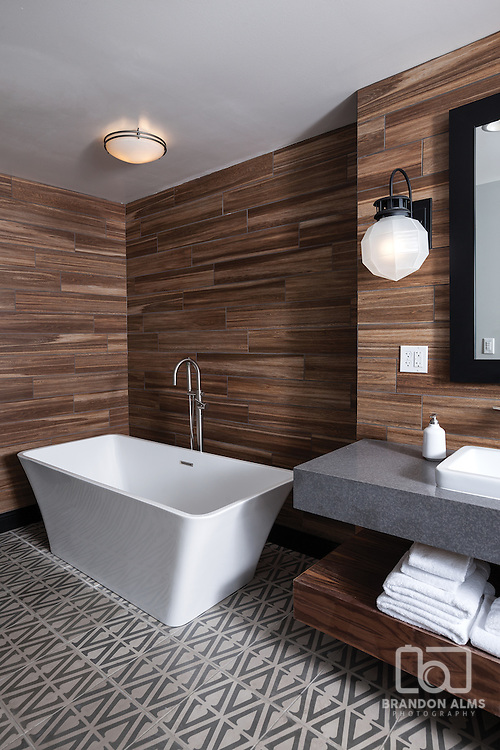 Bathroom in the Master Suite at Hotel Vandivort located in Springfield, MO. Photo by Brandon Alms Photography