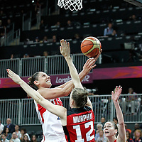07 August 2012: USA Diana Taurasi goes for the layup during 91-48 Team USA victory over Team Canada, during the women's basketball quarter-finals, at the Basketball Arena, in London, Great Britain.