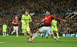 MANCHESTER, ENGLAND - Thursday, April 11, 2019: Barcelona's Sergi Roberto (L) and Manchester United's Chris Smalling during the UEFA Champions League Quarter-Final 1st Leg match between Manchester United FC and FC Barcelona at Old Trafford. Barcelona won 1-0. (Pic by David Rawcliffe/Propaganda)