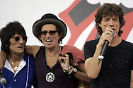 The Rolling Stones members Ron Woods and Keith Richards and, Mick Jagger at a news conference at which they announced the new concert tour. At the Juilliard School of Music in New York Tuesday 10 May 2005.