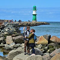 Couple Taking Selfie on West Pier in Warnem&uuml;nde, Germany<br />