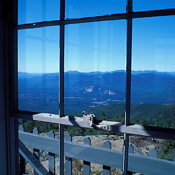 Kearsarge North. View from inside the fire tower.  White Mountain N.F., NH