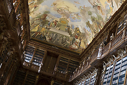 August 16, 2017 - Prague, Czech Republic - Library interior of Strahov Monastery is a premonstratensian abbey founded in 1143. within the city of Prague, Czech Republic. The library of the monastery is one of the most valuable and best preserved ancient library libraries, with about 200,000 volumes. (Credit Image: © Oscar Gonzalez/NurPhoto via ZUMA Press)