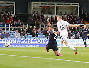 David Clarkson gets to the Martin Boyle's cross ahead of former Dee Lewis Toshney to score with his first touch for Dundee - Ross County v Dundee, SPFL Premiership at the Global Energy Stadium, Dingwall<br /> <br />  - &copy; David Young - www.davidyoungphoto.co.uk - email: davidyoungphoto@gmail.com