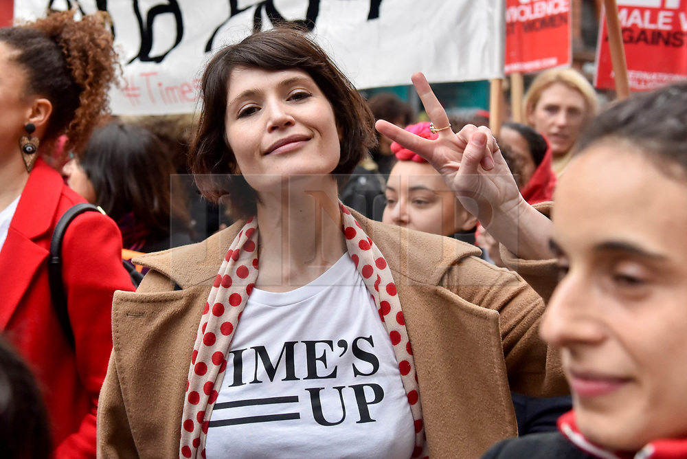 © Licensed to London News Pictures. 10/03/2018. LONDON, UK.  Gemma Arteton, actress, joins thousands of women taking part in the annual Million Women Rise march and rally, walking from Oxford Street to Trafalgar Square to protest against male violence towards women.  Photo credit: Stephen Chung/LNP