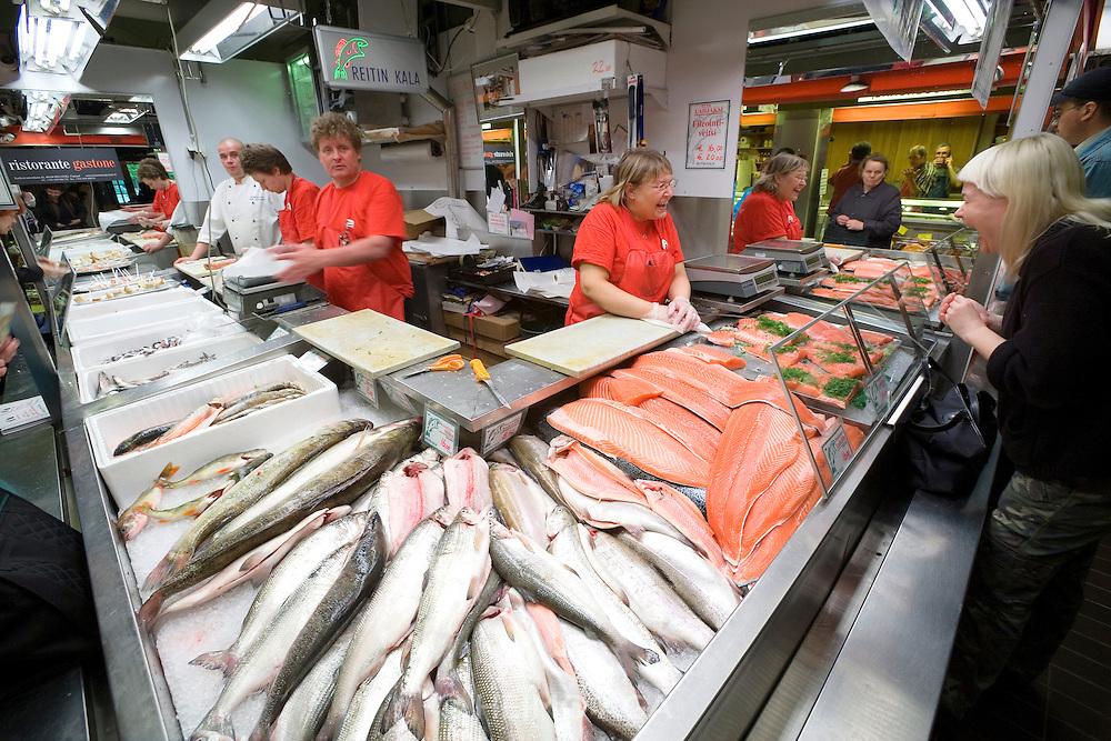 Hakaniemi market square. Fresh salmon.