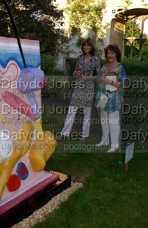 Caroline Donnoley and Lady Ashcombe. Mollie Dent-Brocklehurst and Vanity Fair host  the opening of 'Vertigo'  a mixed art exhibition at Sudeley Castle. Winchombe, Gloucestershire. 18 June 2005. ONE TIME USE ONLY - DO NOT ARCHIVE  © Copyright Photograph by Dafydd Jones 66 Stockwell Park Rd. London SW9 0DA Tel 020 7733 0108 www.dafjones.com