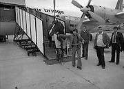"""Shergar At Dublin Airport.   (N82)..1981..25.06.1981..06.25.1981..25th June 1981..With the Irish Sweeps Derby being run on Saturday, """"Shergar"""",the race favourite arrived at Dublin Airport today. the Sweeps Derby will be held on the Curragh Racecourse, Co Kildare. Shergar is owned by the stables of the Aga Khan..Image shows Shergar being walked down onto the tarmac from the aircraft on his arrival at Dublin Airport."""