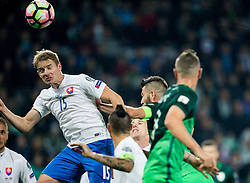 Tomas Hubocan of Slovakia vs Bostjan Cesar of Slovenia during football match between National teams of Slovenia and Slovakia in Round #2 of FIFA World Cup Russia 2018 qualifications in Group F, on October 8, 2016 in SRC Stozice, Ljubljana, Slovenia. Photo by Vid Ponikvar / Sportida