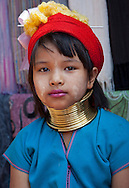 Young Long Neck girls in the near of Chiang Rai, North Thailand.