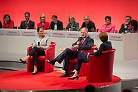 16 JUN 2013, BERLIN/GERMANY:<br /> Gertrud Steinbrueck (L), Ehefrau des Kanzlerkadidaten, und Peer Steinbrueck (M), SPD Kanzlerkandidat, und Bettina Boettinger, Moderatorin, im Dialog, SPD-Parteikonvent, Tempodrom<br /> IMAGE: 20130616-01-088<br /> KEYWORDS: Peer STeinbrück, Gertrud Steinbrück, Gespräch, Bettina Böttinger