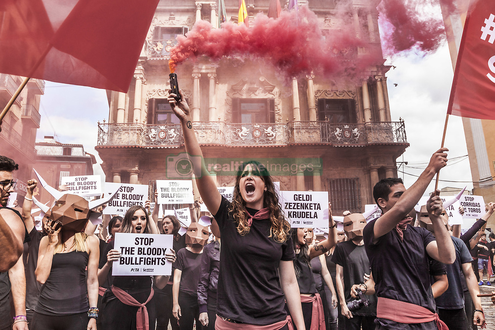 July 5, 2018 - Pamplona, Navarra, Spain - Protest against animal cruelty in bull fightings before San Fermin celebrations in Pamplona, Spain. (Credit Image: © Celestino Arce via ZUMA Wire)
