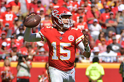 Sep 23, 2018; Kansas City, MO, USA; Kansas City Chiefs quarterback Patrick Mahomes (15) throws a pass during the second half against the San Francisco 49ers at Arrowhead Stadium. The Chiefs won 38-27. Mandatory Credit: Denny Medley-USA TODAY Sports