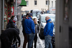 Carmen Small (USA) of Team Virtu Cycling chats before Liege-Bastogne-Liege Femmes - a 138.5 km road race, between Bastogne and Liege on April 28, 2019, in Wallonie, Belgium. (Photo by Balint Hamvas/Velofocus.com)