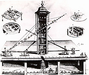 Hevelius's plan for a tower observatory, showing various telescopes, including his 150-ft (16.240m) refracting telescope. From 'Selenographia' by Johannes Hevelius (Gedani, Gdansk, Danzig,  1647).   Engraving.