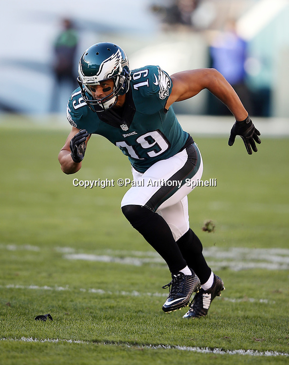 Philadelphia Eagles wide receiver Miles Austin (19) goes out for a pass during the 2015 week 10 regular season NFL football game against the Miami Dolphins on Sunday, Nov. 15, 2015 in Philadelphia. The Dolphins won the game 20-19. (©Paul Anthony Spinelli)