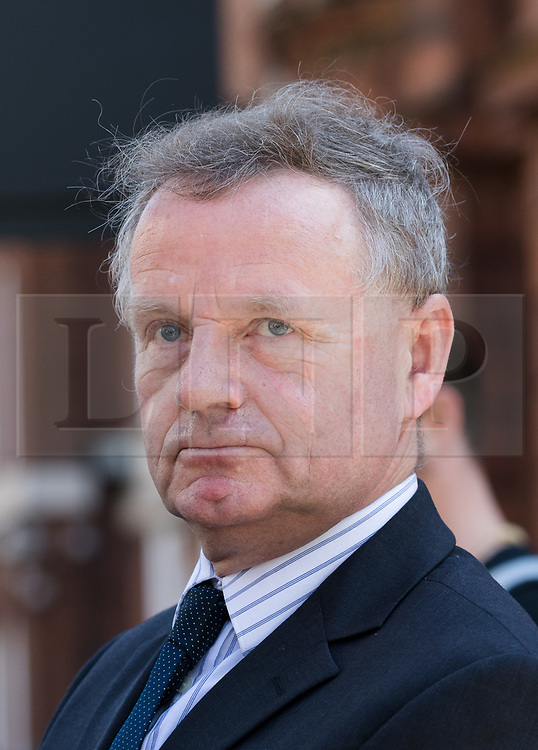© Licensed to London News Pictures. 19/04/2018. London, UK. ANDREW HILL leaves Westminster Magistrates Court in London. Andrew Hill was the pilot of a vintage jet which crashed onto a dual carriageway during the Shoreham Airshow killing 11 men. Mr Hill appeared charged with 11 counts of manslaughter and one count of endangering an aircraft, contrary to Article 137 of the Air Navigation Order 2009 after his Hawker Hunter jet crashed onto the A27 at Shoreham in West Sussex at 1.22pm on August 22, 2015.. Photo credit: Vickie Flores/LNP