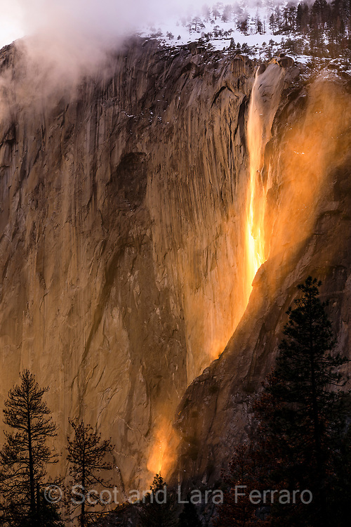 Firefall at Yosemite National Park:  During the last couple of weeks in Yosemite the angle of the sun lines up so that Horsetail falls glows for about 10 minutes.  Conditions have to be perfect - enough moisture for the small falls, warm enough during the day for some snowmelt and clear skies to the west.  Yosemite in winter is spectacular for many reasons but I visited at this time hoping to catch the glow.  For two of the three nights rain and clouds kept me from view.  On this particular night the weather was not looking good, but at sunset a small break in the clouds brilliantly lit up the falls creating a spectacular experience.