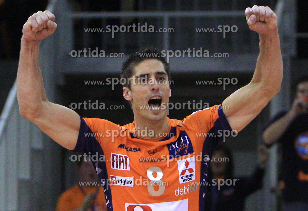Jasmin Cuturic of ACH Volley celebrates at volleyball match of CEV Indesit Champions League Men 2008/2009 between ACH Volley Bled (SLO) and Beauvais Oise (FRA), on December 11, 2008 in Hala Tivoli, Ljubljana, Slovenia. (Photo by Vid Ponikvar / Sportida)