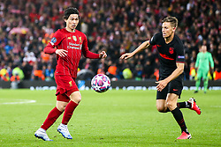 Takumi Minamino of Liverpool takes on Marcos Llorente of Atletico Madrid - Mandatory by-line: Robbie Stephenson/JMP - 11/03/2020 - FOOTBALL - Anfield - Liverpool, England - Liverpool v Atletico Madrid - UEFA Champions League Round of 16, 2nd Leg