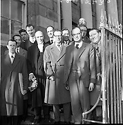 "25/01/1962<br /> 01/25/1962<br /> 25 January 1962<br /> Senior Council, Mr. Sean McBride and the jury of Paul Singer's appeal case at the Central Criminal Court, Dublin.<br /> Dr Paul Singer  had previously been tried for fraud and sentenced to 14 years in connection with the Shanahans Stamps affair. the trial lasted 47 days until Mr Justice Walsh directed the jury to return a ""not guilty"" verdict on eight counts of fraud."