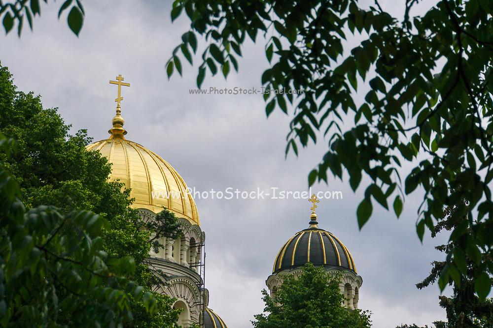 The gilded dome of the Latvian Orthodox Church, Riga, Latvia