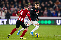 Andreas Pereira of Manchester United takes on John Fleck of Sheffield United - Mandatory by-line: Robbie Stephenson/JMP - 24/11/2019 - FOOTBALL - Bramall Lane - Sheffield, England - Sheffield United v Manchester United - Premier League