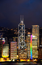 View of many skyscrapers in Hong Kong in the evening