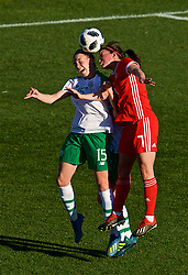 MARBELLA, SPAIN - Thursday, February 28, 2019: Wales' Helen Ward (R) and Republic of Ireland's substitute Claire O'Riordan during an international friendly match between Wales and Republic of Ireland at the Marbella Football Centre. (Pic by David Rawcliffe/Propaganda)