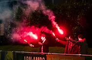 HUIZEN - hoofdklasse competitie dames, Huizen-Groningen .  Supporters met fakkels.  COPYRIGHT KOEN SUYK