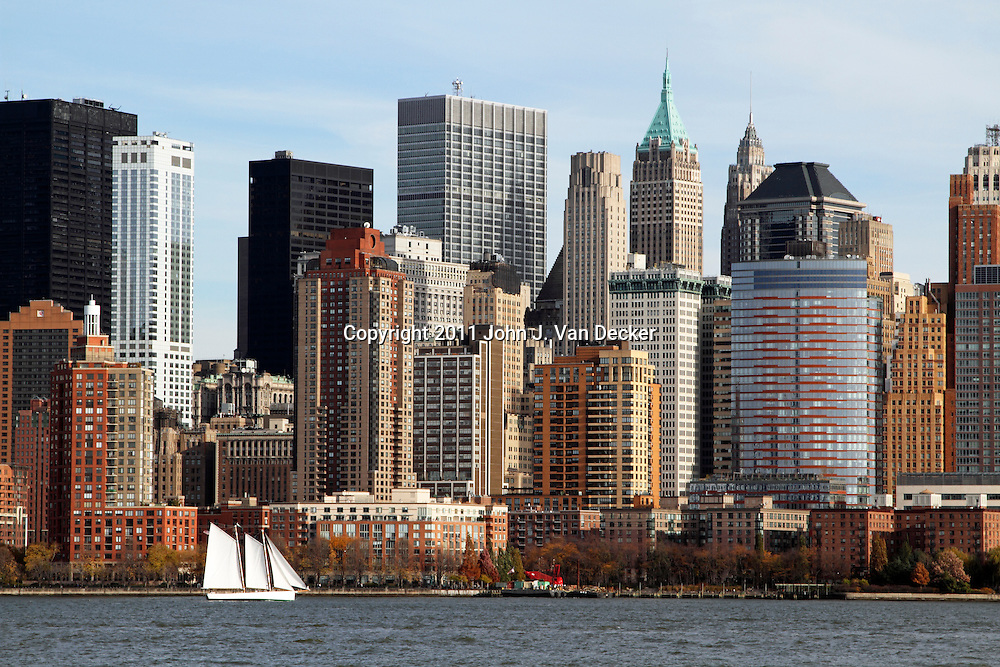 Lower Manhattan, New York City, USA, as viewed from Liberty State Park, New Jersey.
