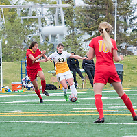 3rd year forward Sydney Langen (28) of the Regina Cougars in action during the Women's Soccer Home Game on September 23 at U of R Field. Credit Matt Johnson/©Arthur Images 2017