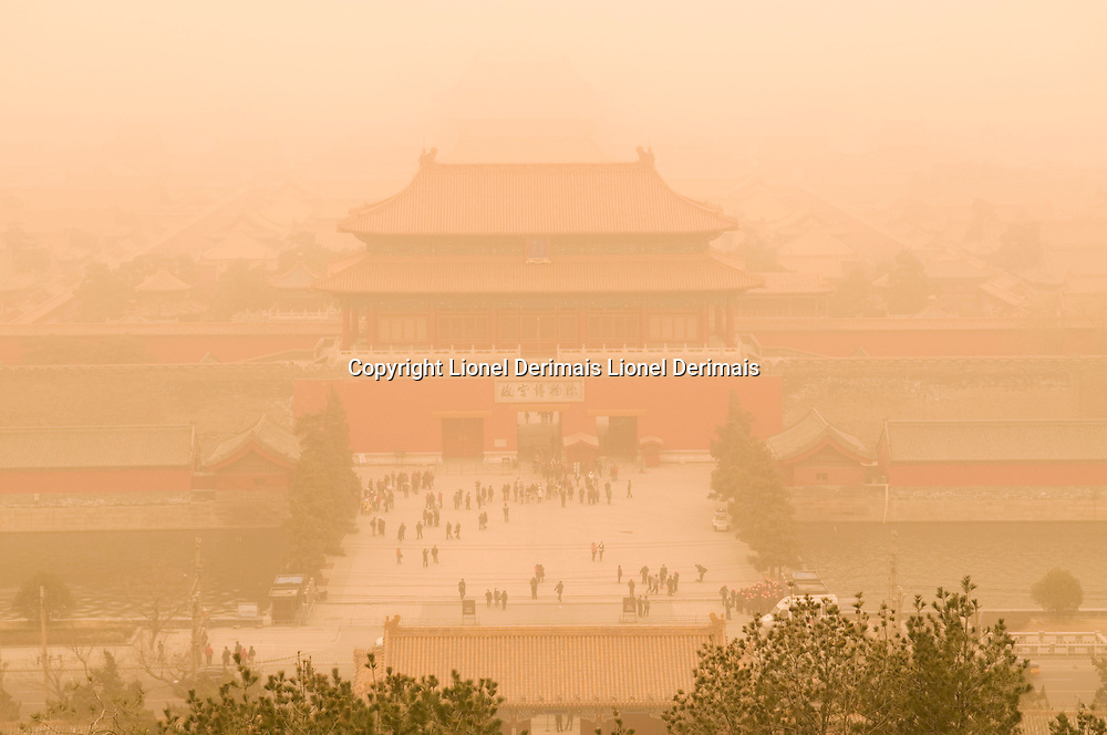 Dust storm over the Forbidden City, Beijing, China.