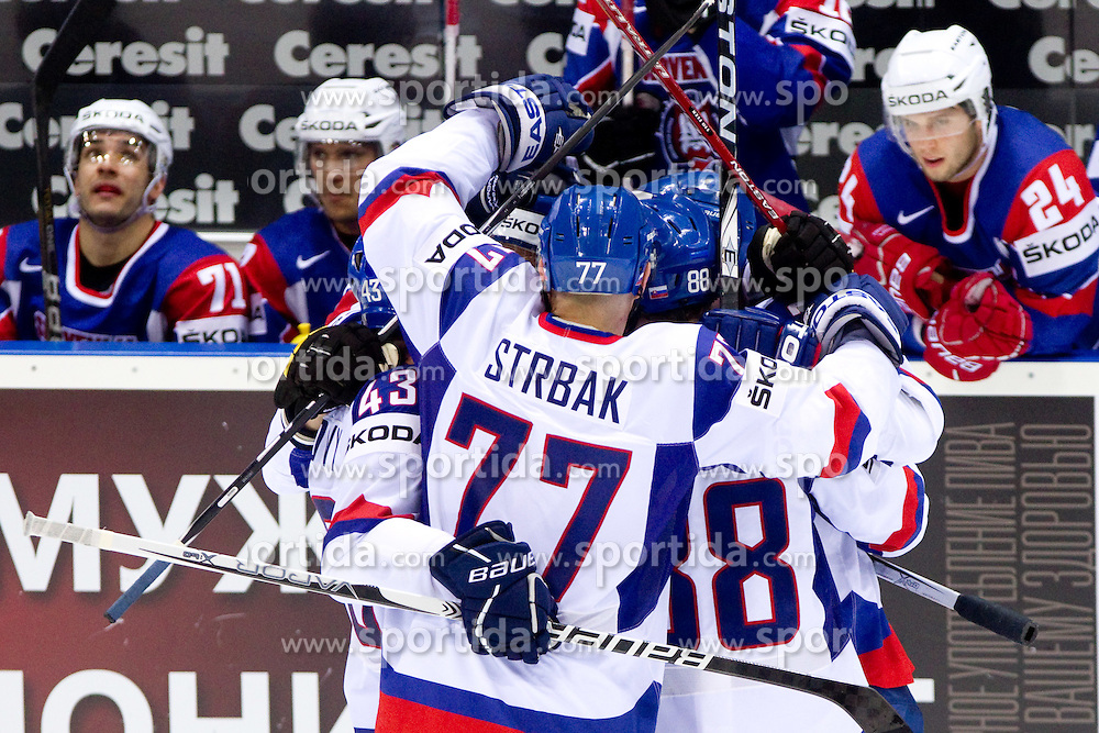 Players of Slovakia celebrate during ice-hockey match between Slovakia and Slovenia of Group A of IIHF 2011 World Championship Slovakia, on April 29, 2011 in Orange Arena, Bratislava, Slovakia. Slovakia defeated Slovenia 3-1. (Photo By Vid Ponikvar / Sportida.com)