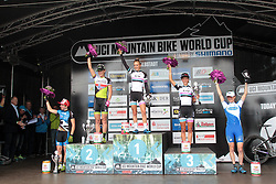 01.06.2014, Bullentaele, Albstadt, GER, UCI Mountain Bike World Cup, Cross Country Damen, im Bild von links nach rechts #Tanja Zakeli Slowenien Gunn-Rita Dahle Flesjaa Norwegen Pauline Ferrand Prevot Frankreich Jolanda Neff Schweiz Catharine Pendrel Kanada // during Womens Cross Country Race of UCI Mountainbike Worldcup at the Bullentaele in Albstadt, Germany on 2014/06/01. EXPA Pictures © 2014, PhotoCredit: EXPA/ Eibner-Pressefoto/ Langer<br /> <br /> *****ATTENTION - OUT of GER*****