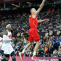 12 August 2012: USA Sergio Rodriguez goes for the layup during 107-100 Team USA victory over Team Spain, during the men's Gold Medal Game, at the North Greenwich Arena, in London, Great Britain.