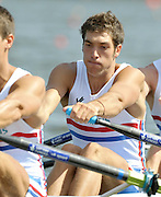 Poznan, POLAND,  GBR M4X,  Charles COUSINS  competing in a heat one of the men's quadruple scull, on the Second day of the, 2009 FISA World Rowing Championships. held on the Malta Rowing lake, Monday  24/08/2009 [Mandatory Credit. Peter Spurrier/Intersport Images]