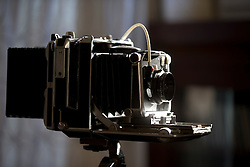 A Linhoff 4x5 view camera, on tripod, in the photographer's living room, Saturday, Dec. 26, 2015, in Oakland, Calif. (Photo by D. Ross Cameron)