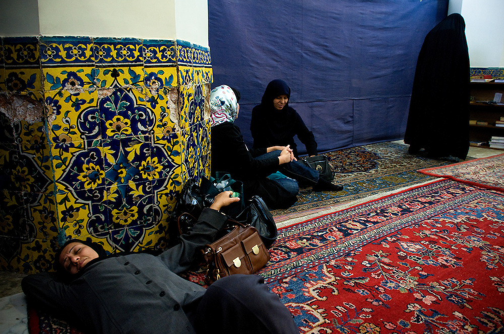 Women at the mosque, often used as a meeting place or a resting place.