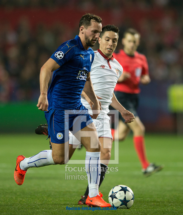 Daniel Drinkwater of Leicester City (nearest) shields the ball from Samir Nasri of Sevilla during the UEFA Champions League match at Ramon Sanchez Pizjuan Stadium, Seville<br /> Picture by Russell Hart/Focus Images Ltd 07791 688 420<br /> 22/02/2017